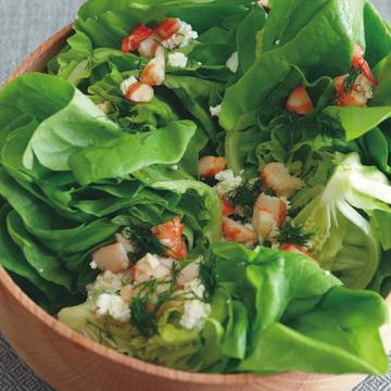 5.サラダ菜とゆでエビ、カッテージチーズのサラダ ディルソース