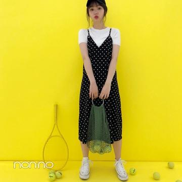 江野沢愛美のカジュアル可愛いドットワンピコーデ【毎日コーデ】