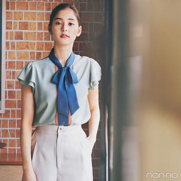 新木優子はレトロ配色のボウタイブラウスで新鮮夏スタイル【毎日コーデ】