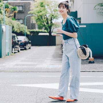 新川優愛はブルーの爽やかワントーンで夏の好感度カジュアル【毎日コーデ】