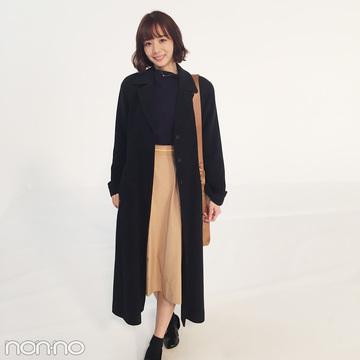 岡田紗佳の冬コーデは黒&ベージュで大人っぽく!【モデルの私服スナップ】