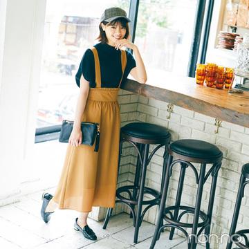 西野七瀬は女っぽく着られるサスペスカートに夢中♡【毎日コーデ】