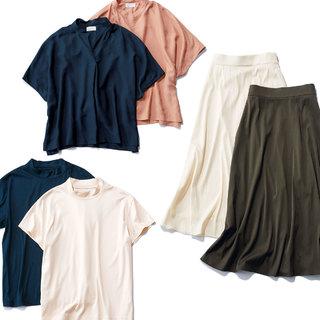 簡単におしゃれ見え。アラフォーのための技ありベーシックトップス&スカート