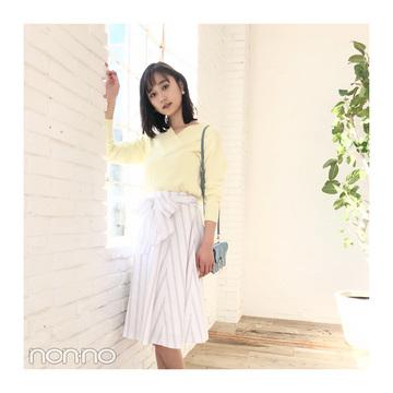 鈴木友菜はさわやかなストライプスカートで大人可愛く【毎日コーデ】