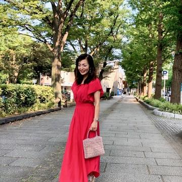 真っ赤なワンピースを着て横浜へ♪