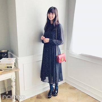 新川優愛は旬のドット&透け感ワンピで大人っぽコーデ【毎日コーデ】
