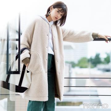 渡邉理佐のカジュアルアウターナビ★ ノーカラーのボアが使える!