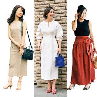 スカート丈は長めが主流。アラフォーの同窓会【美女組ファッションSNAP】