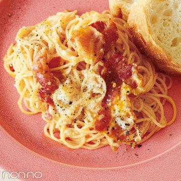 2食材でインスタ映え簡単レシピ♡焼きベーコンと粉チーズの即席カルボナーラ