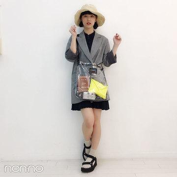 山田愛奈は麦わら帽子とクリアバッグで夏っぽコーデ♡【モデルの私服スナップ】