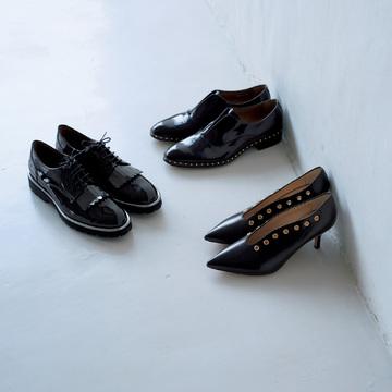 ペルティーニ&ペリーコのツヤ黒靴で足もとから旬をとり入れて
