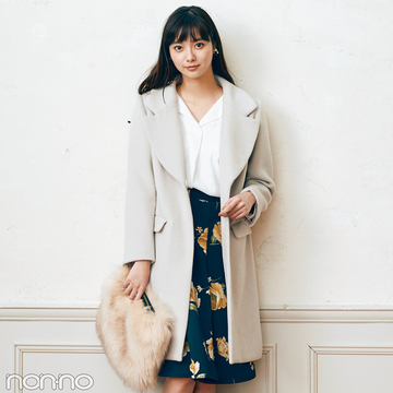 新川優愛がお手本♡花柄フレアスカートの着回し真冬~春先まで!