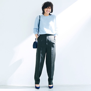 <最旬スタイル2>ニュアンスカラーで女らしいパンツスタイルに!【春のミニマム・ワードローブ】