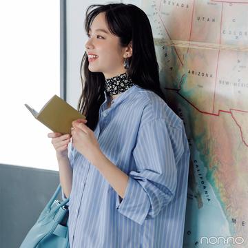新川優愛はストライプシャツで颯爽と【毎日コーデ】