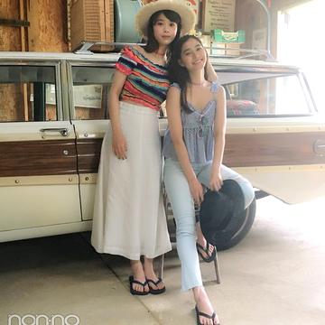 新木優子と馬場ふみかの夏旅コーデが可愛すぎ【毎日コーデ】