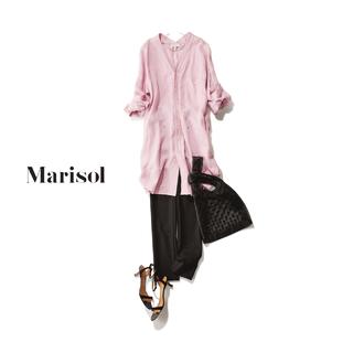 ふわりと広がる大人ピンクのビッグシャツには黒パンツで引き締めて【2019/5/31コーデ】