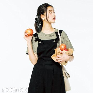 華奢見えする黒サロペット着回し★ノンノモデル新木優子の3スタイルはコレ!