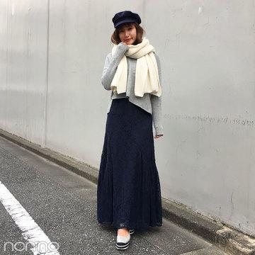 佐藤エリはスナイデルのレーススカートで大人可愛く【モデルの私服】