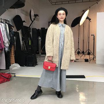 山田愛奈はユニクロのもこもこアウターでこなれカジュアル【モデルの私服スナップ】
