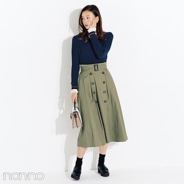 履くだけでウエストキュッなトレンチスカートに夢中【毎日コーデ】
