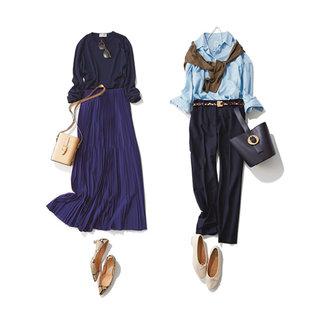 アラフォーの定番色「ネイビー」がよりおしゃれに見えるファッションコーデ15選