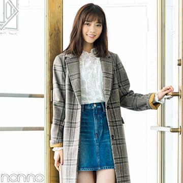 西野七瀬の真冬コーデはチェックコート×ミニ丈デニムスカート!