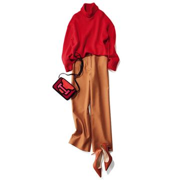【Day21】女友だちとのイタリアンは、流行っぽいハイウエストのキャメルパンツで!【冬の洗練パンツ30days】