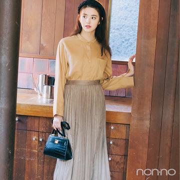 柔らかなフェイクスエードスカートで春スタイルが一気にしゃれ見え!【毎日コーデ】