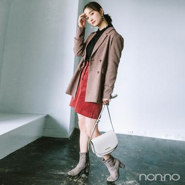 秋色ジャケットときれい色ミニスカートでハンサムガーリー【毎日コーデ】