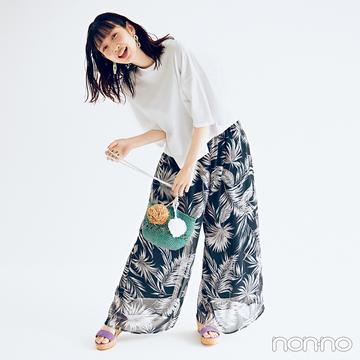 夏の鉄板ワンツーコーデは柄パンツで差をつけたい!【毎日コーデ】