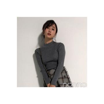 鈴木友菜が着るトレンドのウールチェックミニスタイル【毎日コーデ】