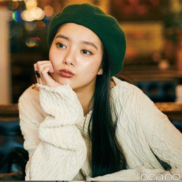【木曜日】新川優愛はざっくりニット&秋色ベレー帽コーデ♡
