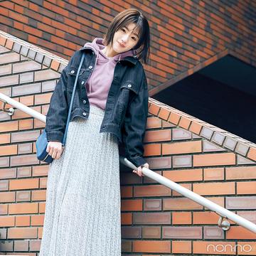 Gジャン&スカートの超鉄板コーデはフーディでトレンド顔に!【毎日コーデ】