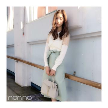 新木優子はキレイ色スカート×レーストップスで春っぽさ満点 【毎日コーデ】