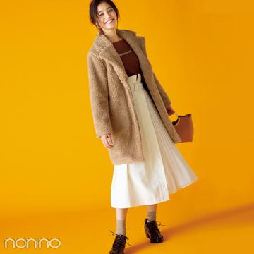 新木優子はボリュームコートに白スカートで抜け感!【毎日コーデ】