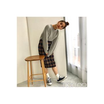 新木優子が着回し中♡旬のチェックのペンシルスカート【毎日コーデ】
