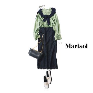 お堅くなりがちなシャツ&スカートはきれい色と大人素材で洗練させて【2020/6/23コーデ】
