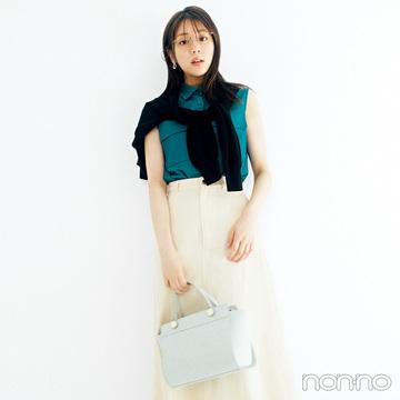 ノースリシャツ&フレアスカートで夏の好感度スタイル【毎日コーデ】