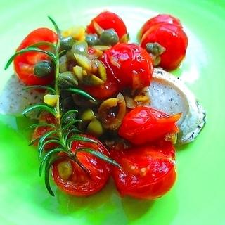 トマト&オリーブオイルで、ブリのグリルが本場の味に!