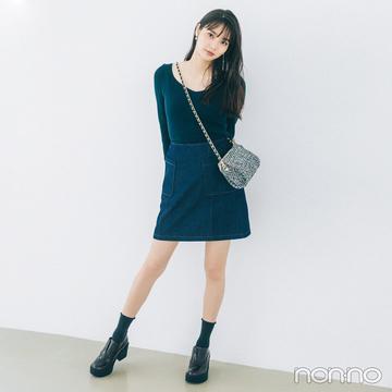 新川優愛は注目色グリーンでコーデをブラッシュアップ【毎日コーデ】