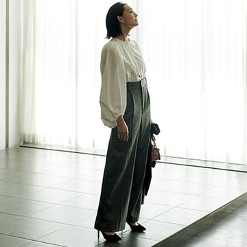 """<エブール>着るだけでスタイルアップをかなえるワイドパンツ【Jマダムブランドの最旬""""時短パンツ""""】"""