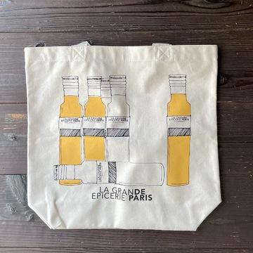 オリーブオイルが描かれた布製のエコバッグ