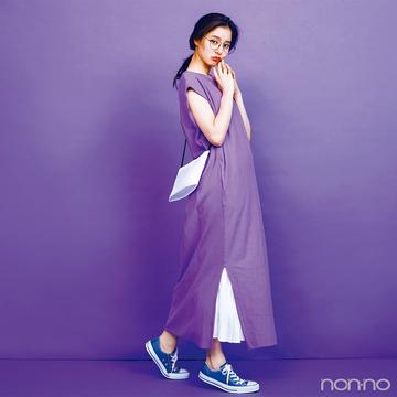 新木優子は注目カラー・パープルを主役にトレンド力をアピ♡【毎日コーデ】