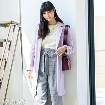 新川優愛の着回し♡ チェスターコートとグレンチェックパンツで清楚に!
