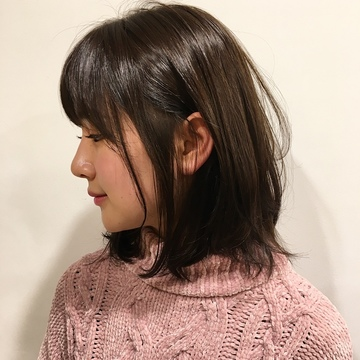 暗髪でも可愛く♡赤みを抑えた透明感カラー♡
