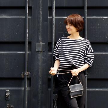 富岡佳子×Le minor 大人ボーダートップス