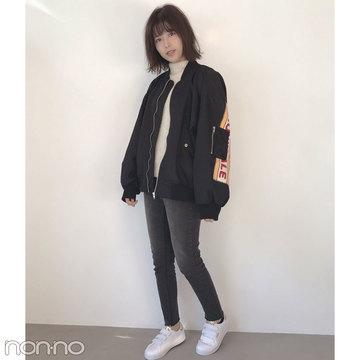 渡邉理佐の真冬私服コーデ♡ 韓国で買ったゆるブルゾン+黒スキニー【モデルの私服スナップ】
