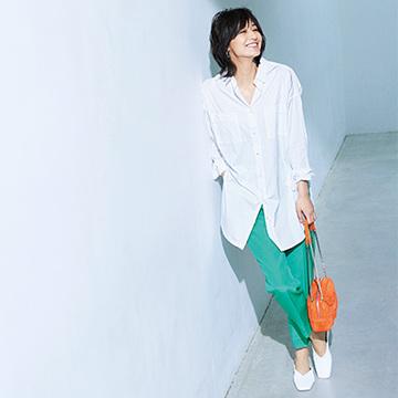 <最旬スタイル3>主役級パンツ×白シャツでつくるシンプルスタイル【春のミニマム・ワードローブ】
