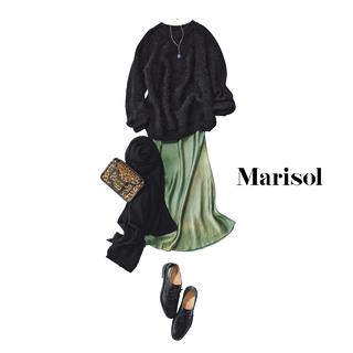 大部分が黒でも怖く見えない秘密は柔らかな素材感と艶スカートにあり【2021/1/19コーデ】