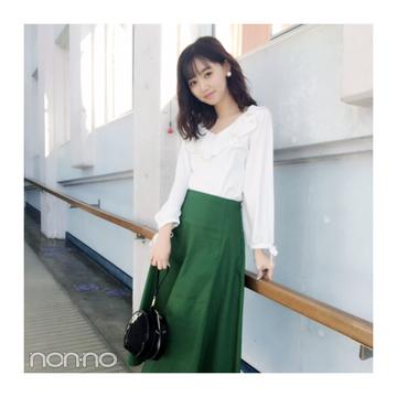 江野沢愛美は大人グリーンのスカートで洗練フェミニン♡ 【毎日コーデ】